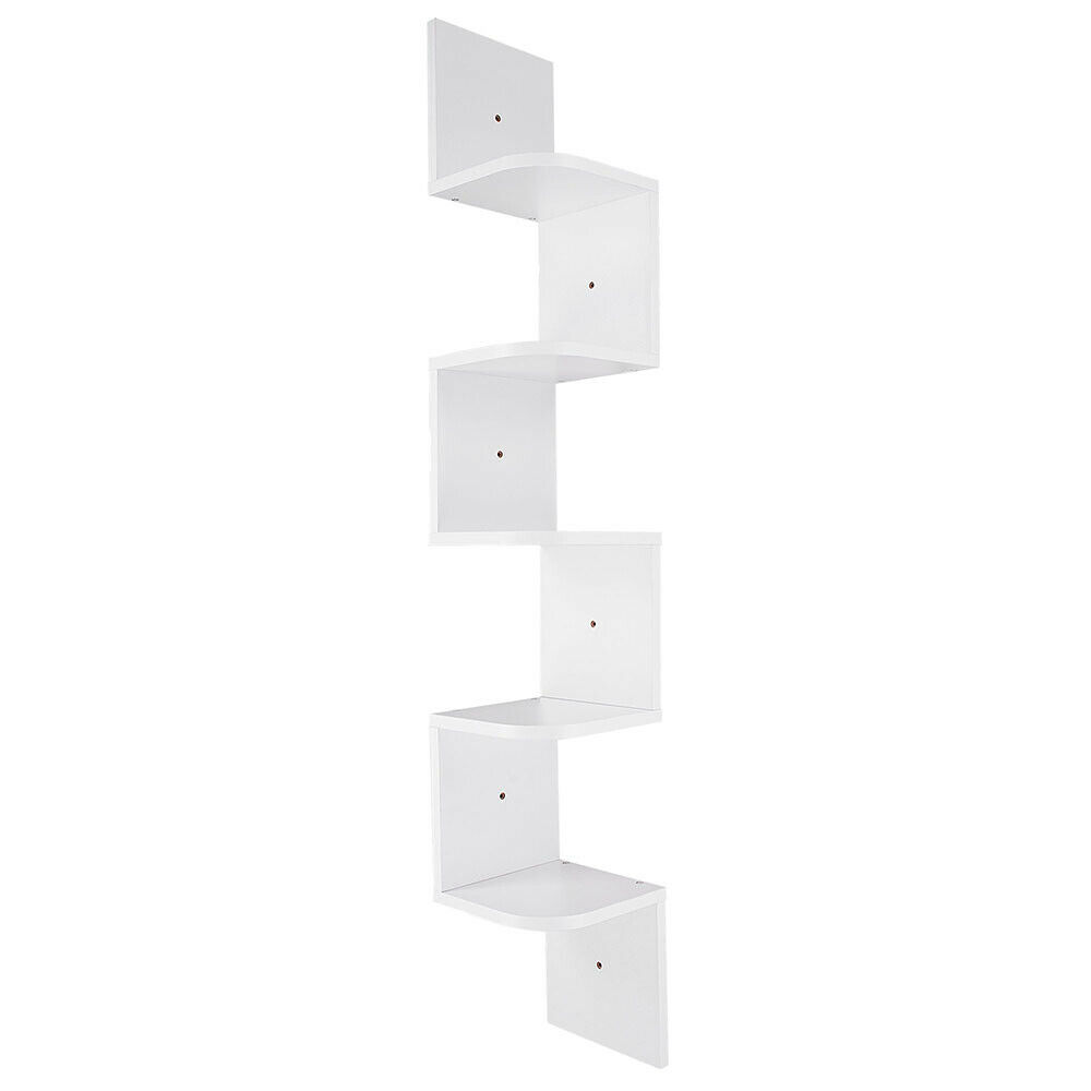 Space Saving Durable Easy to Install for Home and Office Space Floating Corner Shelf Halter 5 Tier Wall Mount Corner Shelves White Zigzag Decorative Shelves Pack of 2