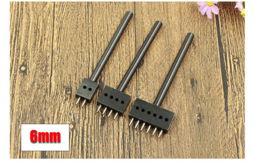 Leather Craft Round Row Hole Chisel Graving Stitching Punch DIY Tool Set 4 5 6MM