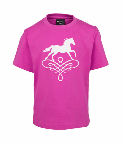 KIDS HORSE T-SHIRT HORSE ON SCROLL KIDS SIZES 2-14 100/% COTTON BRAND NEW