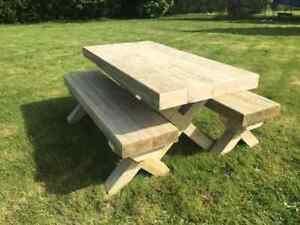 Extra Wide Handmade Tanalised Sleeper Wooden Garden Furniture Set - 2.2m Long   EBay
