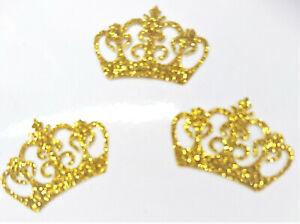 3-X-COURONNE-couleur-OR-Patch-termocollant-hotfix-Glitter-GOLD-3x2-cm