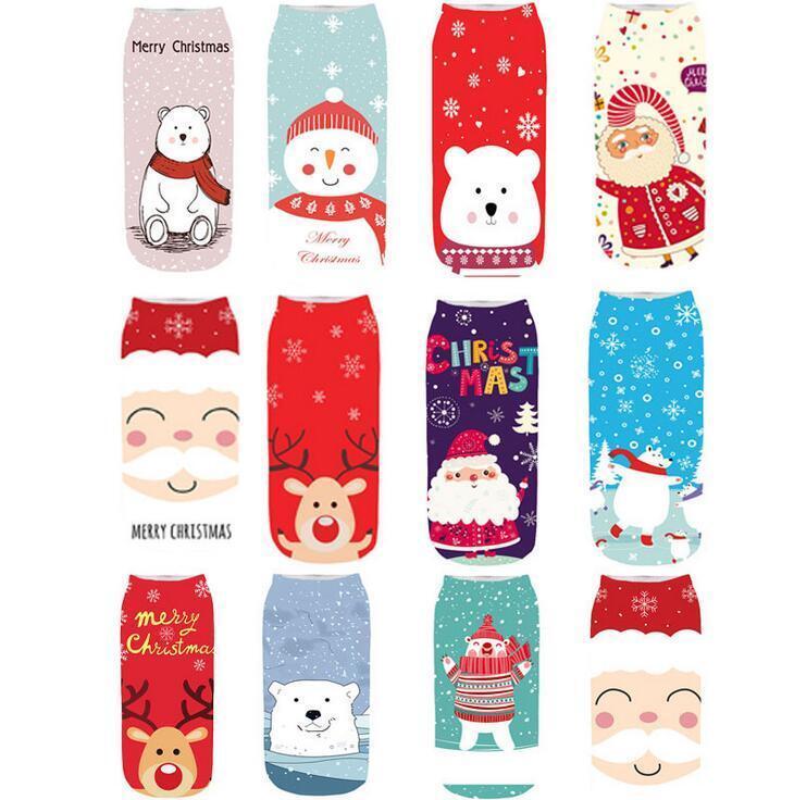 Weihnachten gedruckt Socken Cartoon Weihnachtsmann Unisex Low Cut Söckchen