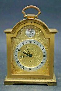 Horloge-Reveil-De-Table-Bronze-Dore-Swiza-8-Tempus-Fugit-Swiss-Made