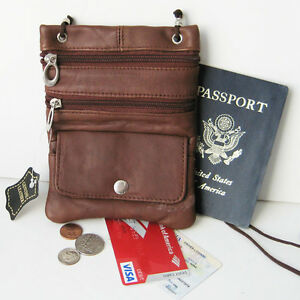 Brown-Real-Leather-ID-Holder-Neck-Strap-Zip-Pouch-Travel-Lanyard-Passport