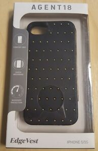 AGENT18-iPhone-5-5S-SE-Edgevest-Black-With-Gold-Studs-Case-Cover-Fitted-9E