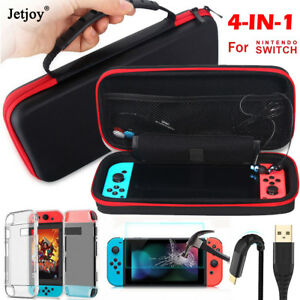 official photos a071e 0664c Details about 4in1 Carrying Case Bag+Shell Cover+Glass Film+Charging Cable  for Nintendo Switch