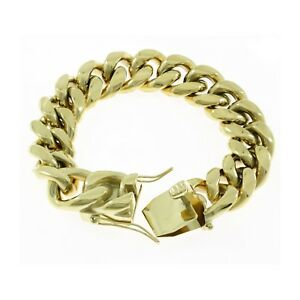Fast Deliver Miami Cuban Link Bracelet 14k 18k Yellow Rose White Gold Plated Stainless Steel Bracelets