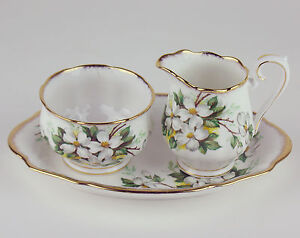 Creamer-Sugar-Bowl-Regal-Tray-Set-Royal-Albert-White-Dogwood-vintage-England
