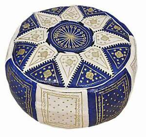 Moroccan-Pouf-Ottoman-Leather-Blue-Unstuffed-Handmade-Embroidered-FREE-SHIP
