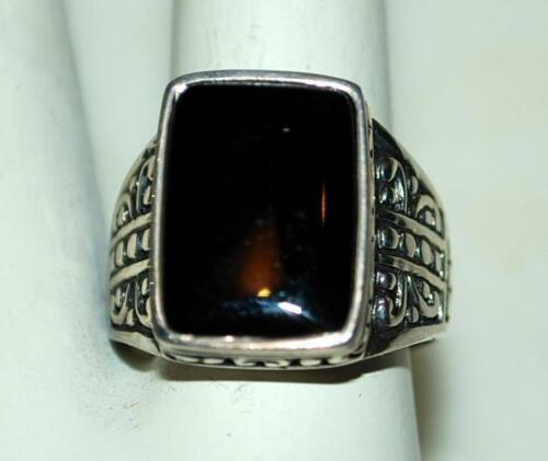 925 STERLING SILVER RECTANGLE BLACK ONYX SOLITAIRE LADIES RING 7.6 GR SIZE 8 RT4
