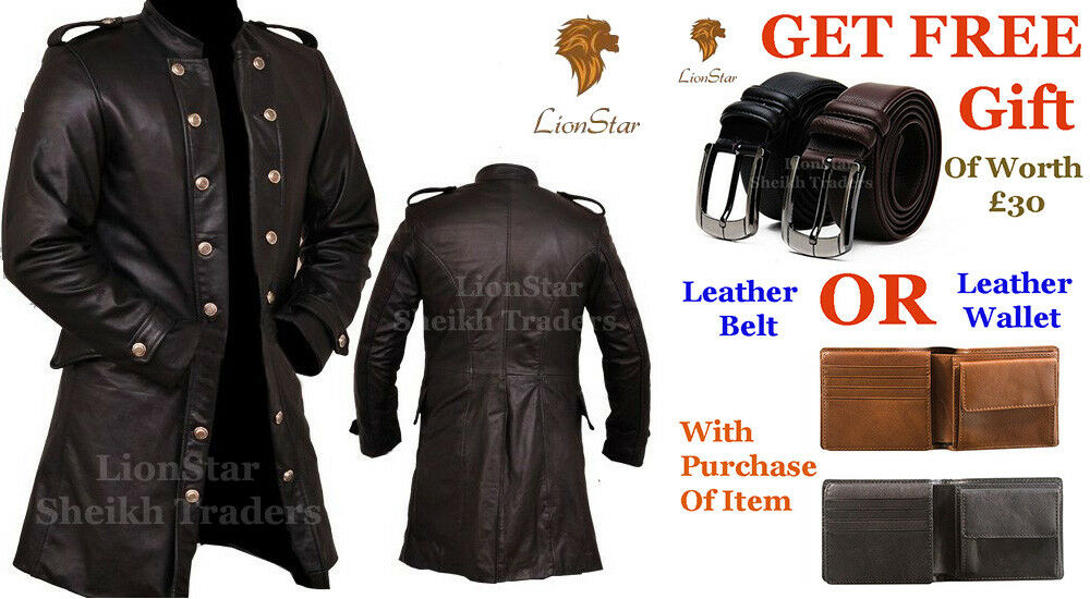 Lionstar Men 3 Quarter Gothic Steampunk Vintage Military Fancy Leder Coat