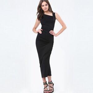 Elegante raffinato vestito abito tubino  donna nero lungo aderente slim  3474