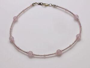 Pink Rose Quartz and Rose Seedbead Anklet