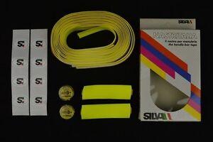 NOS-Silva-handlebar-tape-shimano-105-golden-arrow-arro-plugs-vintage-Lenkerband