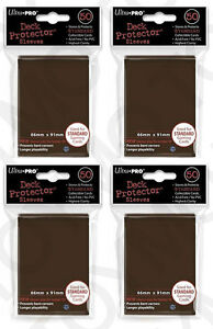 4pk-200-ULTRA-PRO-Deck-Protector-Card-Sleeves-Magic-Pokemon-Standard-84027-Brown