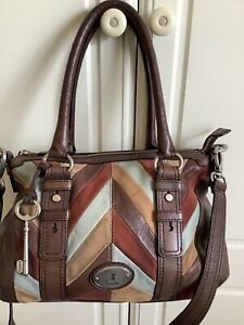 Large Fossil Maddox Satchel In  Brown Leather With Patchwork In Suede&Leather