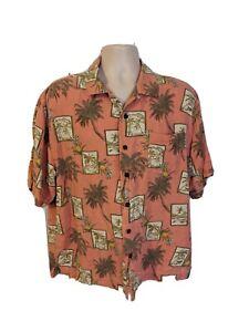 Bermuda-Bay-Men-039-s-L-Coral-Pink-Hawaiian-Shirt-Sleeve-Silk-Button-Down-Shirt