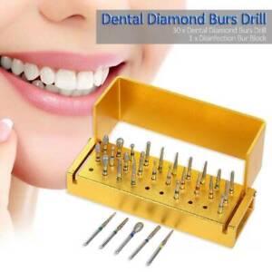 30pcs-Dental-Diamond-Burs-Drill-Disinfection-Bur-Block-High-Speed-Handpieces-Set