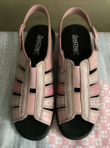 Hotter-Tino-Leather-Wedge-Heel-Sandals-Comfort-Concept-Uk-Size-6-5-Pink-Mix