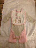 Modern Baby 3 Piece Set Bib/bodysuit/pants 0-3 Mos Pink/white/gray With Tags