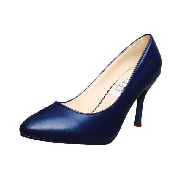 e036ee6784a45a Pumps Elegante Damen Pump 37 blau Dunkelblau Matt Damenschuhe Schuhe Leder  Optik