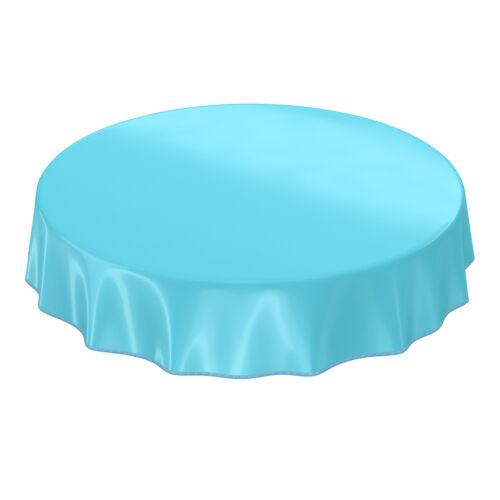 Abwaschbare Wachstuch Tischdecke Uni Türkis Hellblau Einfarbig Glanz