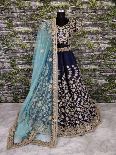 Lengha Pakistan Floral Mariage Chili Designer Bleu Blouse Blouse Lehenga 8nP0wOk