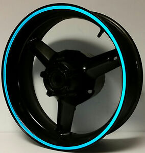 BLUE 3M REFLECTIVE MOTORCYCLE or CAR SUV RIM STRIPES WHEEL DECALS TAPE STICKERS