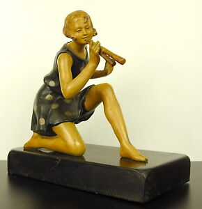 Geo-Maxim-Figure-Feminine-with-Double-Flute-Sculpture-Art-Deco-c1930-Woman-H22cm