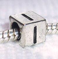 Alphabet Letter I Initial Cube Square Bead For Silver European Charm Bracelets