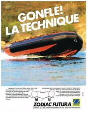 PUBLICITE ADVERTISING  1984   ZODIAC FUTURA   le mark III   bateau pneumatique