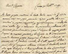 Lettera Cronaca Nobiluomo Lucchese Governo Democratico Lucca Giacobina 1799