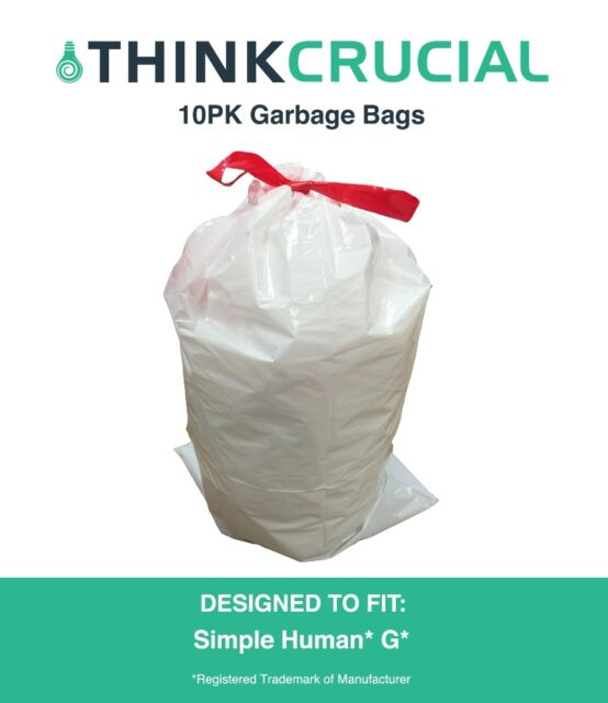 10 Replacements Simple Human G 30l 8 Gallon Durable Garbage Bags