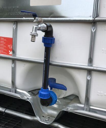 """IBC Schwanenhals mit 3//4/"""" Auslaufhahn für IBC Container Regenwassertank"""