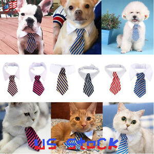 Lovely-Dog-Cat-Striped-Bow-Tie-Collar-Pet-Adjustable-Neck-Tie-White-Collar-USA