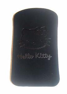 Negro-suave-al-tacto-diapositiva-en-bolsa-oficial-de-Hello-Kitty-para-telefonos-moviles-Pequeno