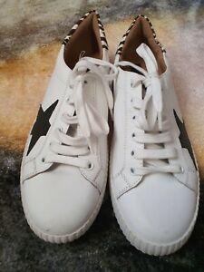 Ex M\u0026S Ladies Leather Lace Up White