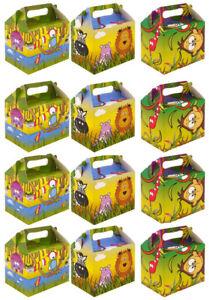 Jungle-Animal-Papier-Boite-Dejeuner-going-home-Present-Picnic-Boites-12x-Value-Pack