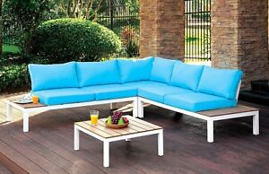 Pleasing Details About Bailey Plank Style Outdoor Patio Sectional Sofa Whiteblue Accent Table Brown Lamtechconsult Wood Chair Design Ideas Lamtechconsultcom