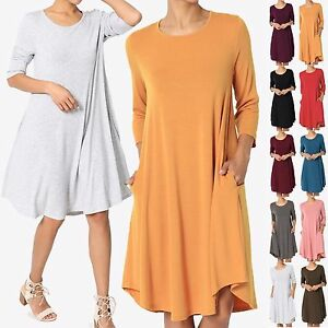 TheMogan-S-3X-Basic-Jersey-Knit-3-4-Sleeve-Trapeze-Pocket-Loose-T-Shirt-Dress