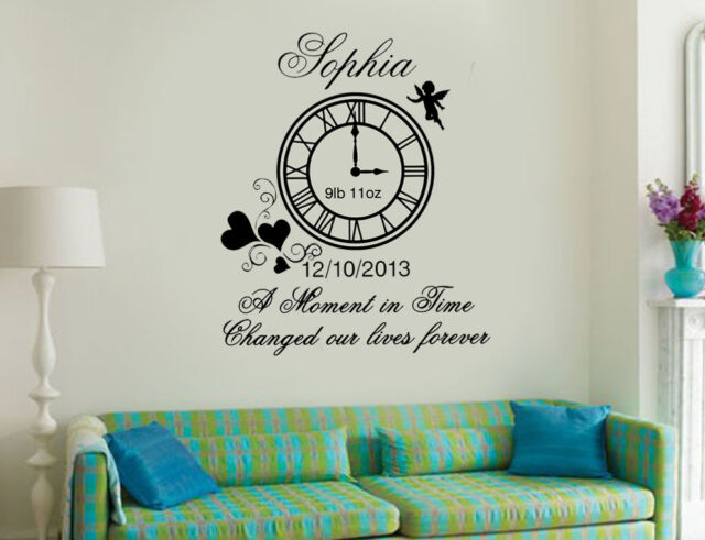 personalised kids birth clock wall art diy sticker/decal for sale