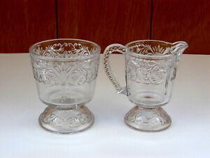 Antique-EAPG-McKee-Glass-Holland-Oat-Spray-Clear-Creamer-Spooner-Set
