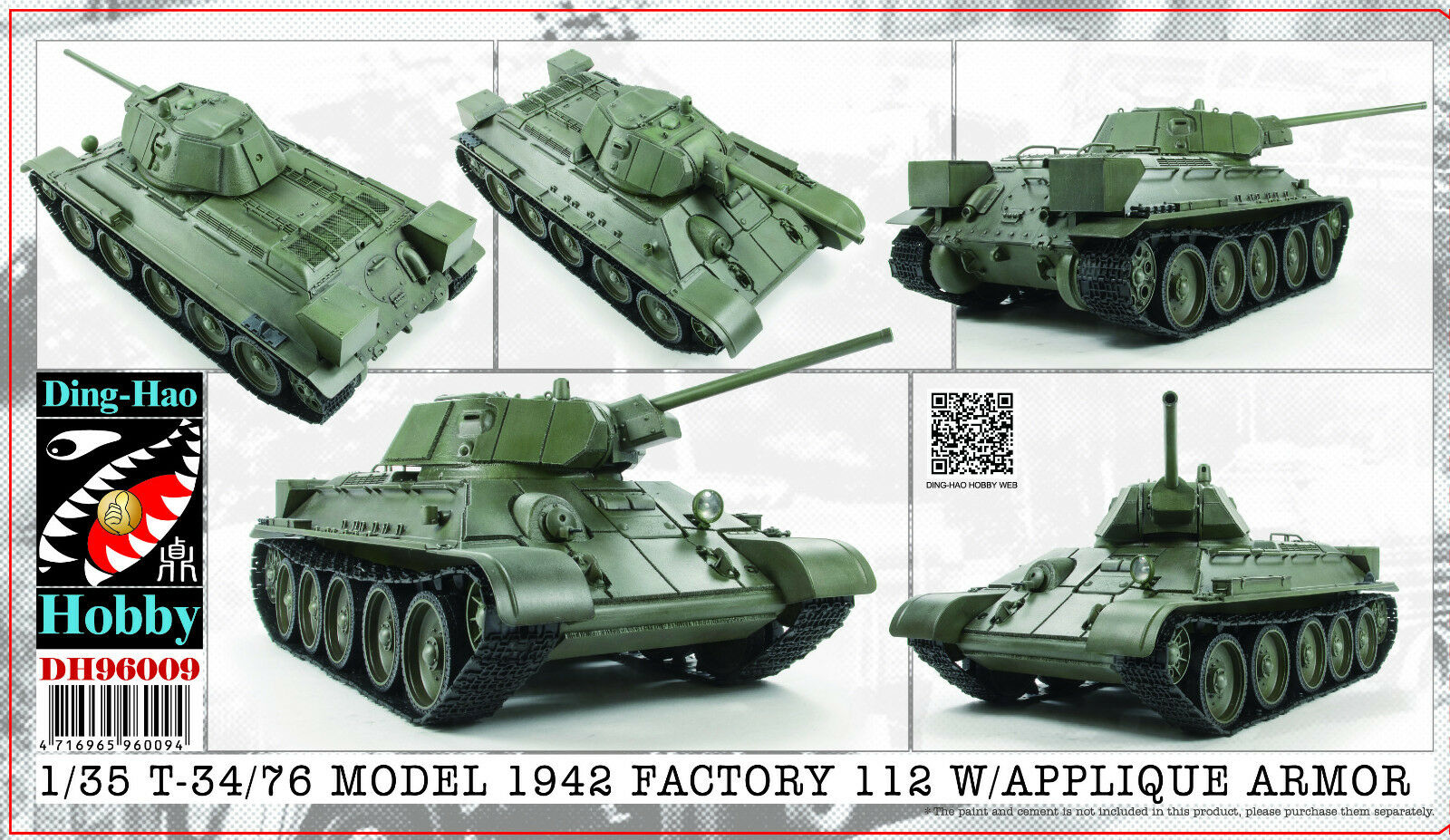 Ding-Hao 1 35 DH-96009 WWII Soviet T-34 76 Mod1942 Factory 112 w APPLIQUW ARMOR