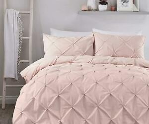 RUCHED PINTUCK DIAMONDS BLUSH PINK COTTON BLEND DOUBLE DUVET COVER