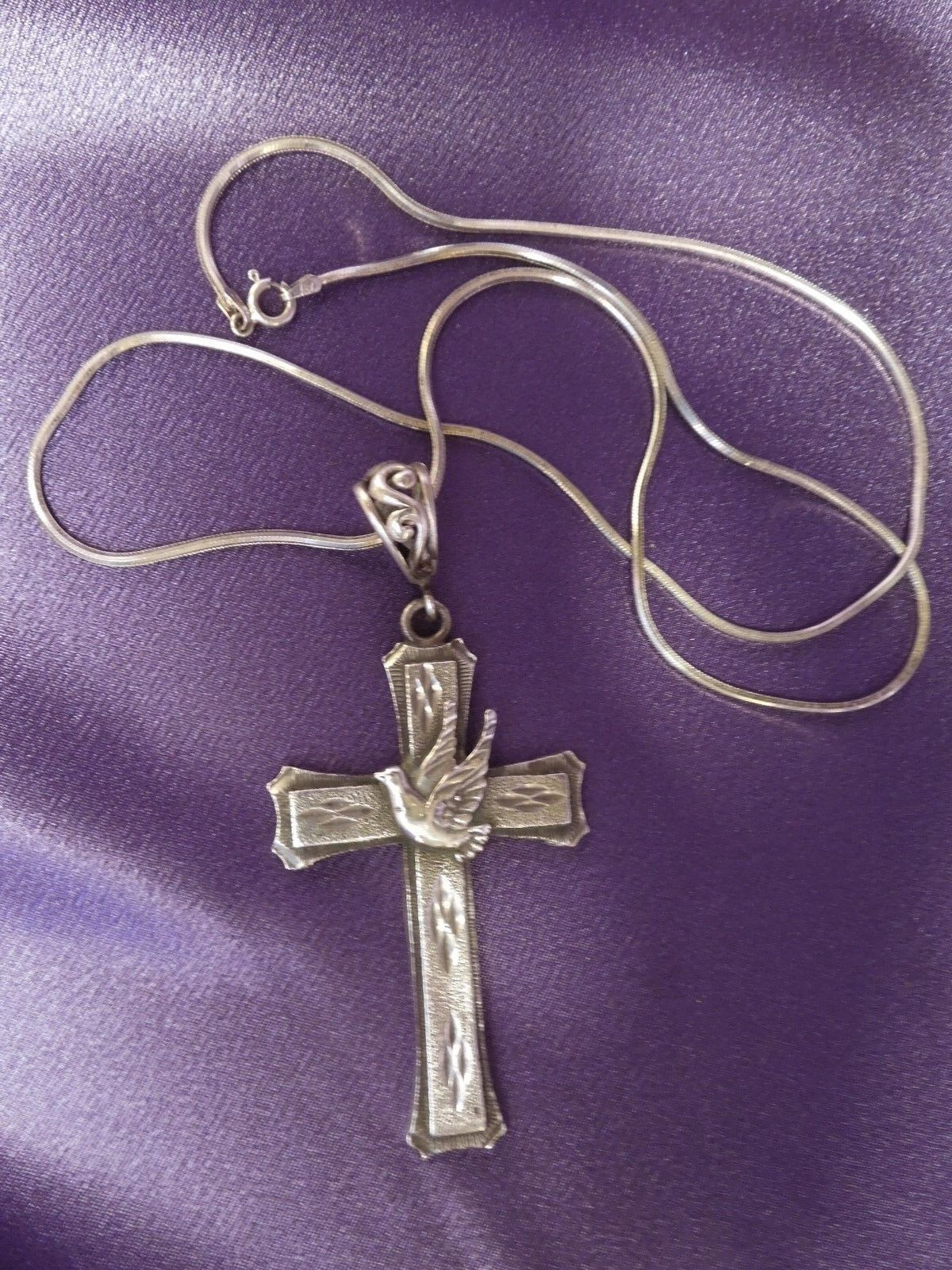 Large Designer 1 of A Kind Sterling Cross Dove Peace Pendant w  24  Snake Chain