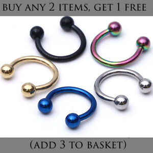 Horseshoe-Nose-Ear-Lip-Septum-Ring-Various-Sizes-amp-Colours-16G-or-18G-UK-Seller