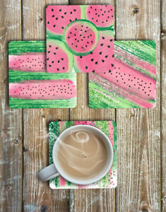 Watercolour-Watermelon-Drink-Coasters-Set-of-4-Non-Slip-Neoprene