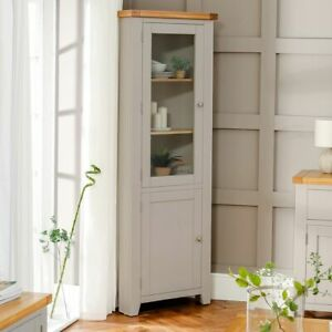Details about Downton Grey Painted Tall Glazed Corner Cabinet - Living Room  Furniture - DT59