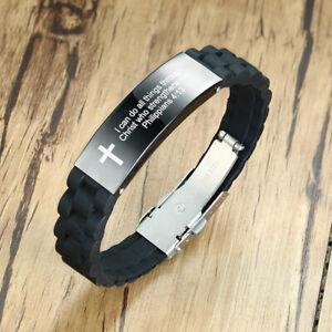 Inspirational-Silicone-Wristband-Men-039-s-Bracelet-Personalized-Cross-Bible-Prayer
