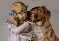 Heubach Ql LARGE Girl and St Bernard Dog Victorian Piano Baby bisque figurine